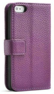 Folding Leather Purple iPhone 5 Wallet