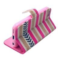 Gold and Pink Stripe Leather Wallet iPhone 5C Case 2