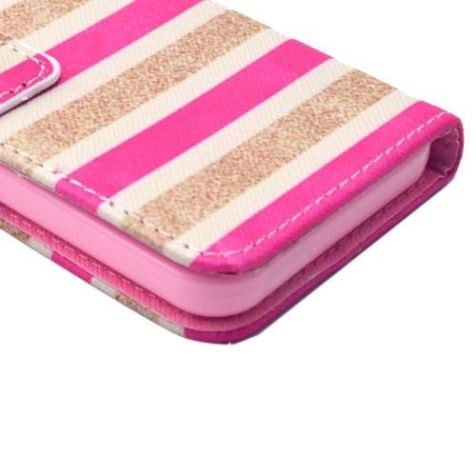 Gold and Pink Stripe Leather Wallet iPhone 5C Case 3