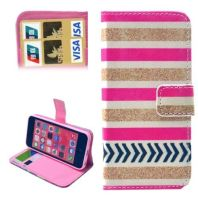 Gold and Pink Stripe Leather Wallet iPhone 5C Case