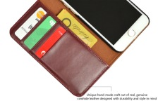 iCoverLover Reddish Brown Real Top-grain Cow Leather Wallet iPhone 7 Case 2