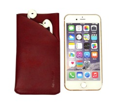 iCoverLover Reddish Brown Real Top-Grain Leather iPhone 6, 6S & 7 Headphones Pouch 3