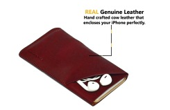 iCoverLover Reddish Brown Real Top-Grain Leather iPhone 6, 6S & 7 Headphones Pouch