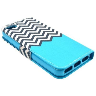 Sea Striped Waves Leather Wallet iPhone 5, 5S & SE Case 2