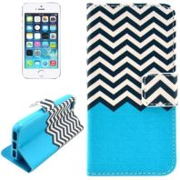 Sea Striped Waves Leather Wallet iPhone 5, 5S & SE Case 3