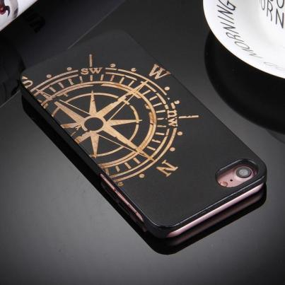 Artistic Compass Wheel on Black Bamboo Wood iPhone 7 Case 2
