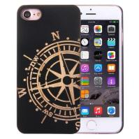 Artistic Compass Wheel on Black Bamboo Wood iPhone 7 Case