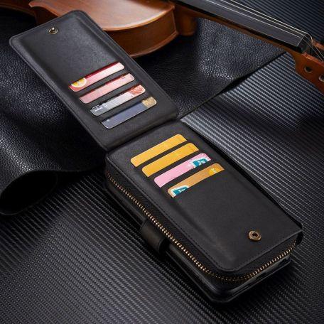 Black Genuine Leather Zipper Wallet Detachable iPhone 7 PLUS Case 2