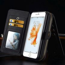 Black Genuine Leather Zipper Wallet Detachable iPhone 7 PLUS Case