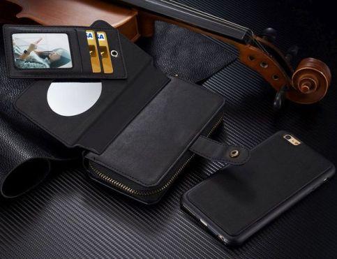 Black Genuine Leather Zipper Wallet Detachable Samsung Galaxy S7 Case 1