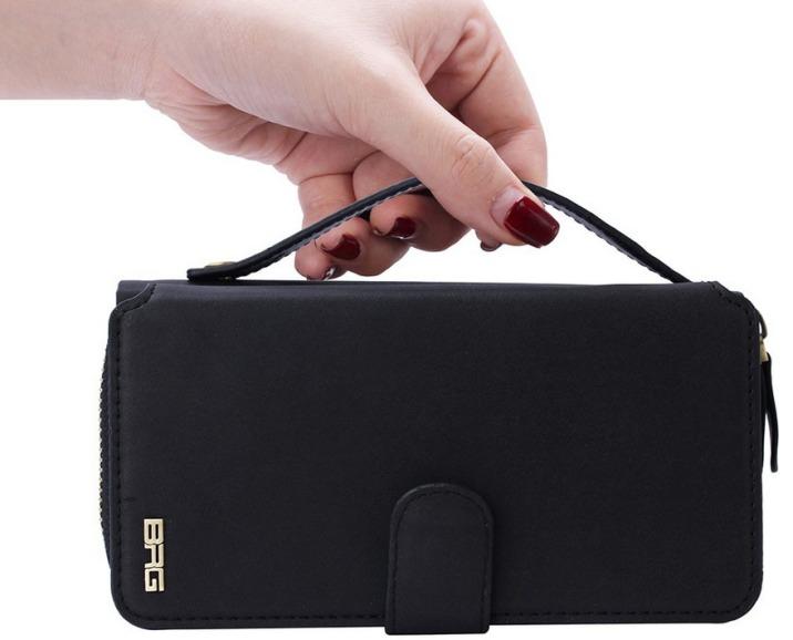 Black Genuine Leather Zipper Wallet Detachable Samsung Galaxy S7 Case 2