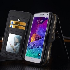 Black Genuine Leather Zipper Wallet Detachable Samsung Galaxy S7 Case