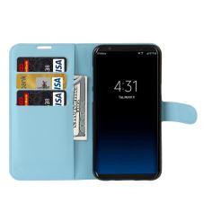 Blue Litchi Flip Leather Wallet Samsung Galaxy S8 PLUS Case 3