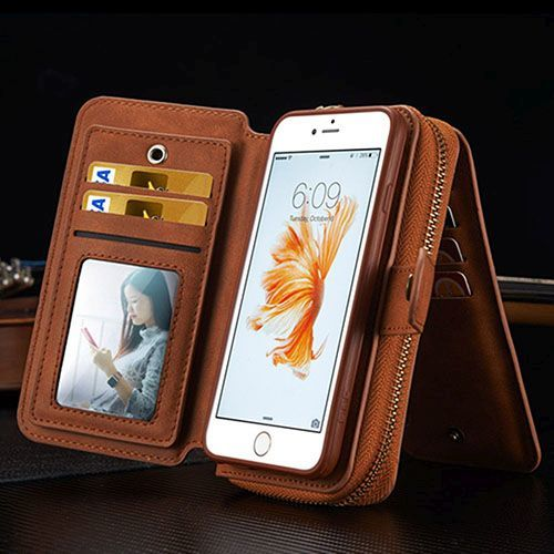 Brown Genuine Leather Zipper Wallet Detachable iPhone 7 PLUS Case.jpg