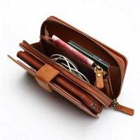 Brown Genuine Leather Zipper Wallet Detachable Samsung S8 PLUS Case 2