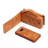 Brown Genuine Leather Zipper Wallet Detachable Samsung S8 PLUS Case