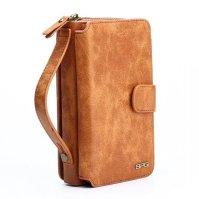 Brown Genuine Leather Zipper Wallet Detachable Samsung S8 PLUS Case1
