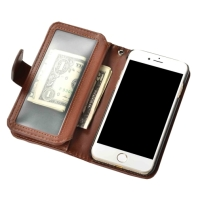 Brown Horizontal Flip Leather Wallet iPhone 7 Case 1