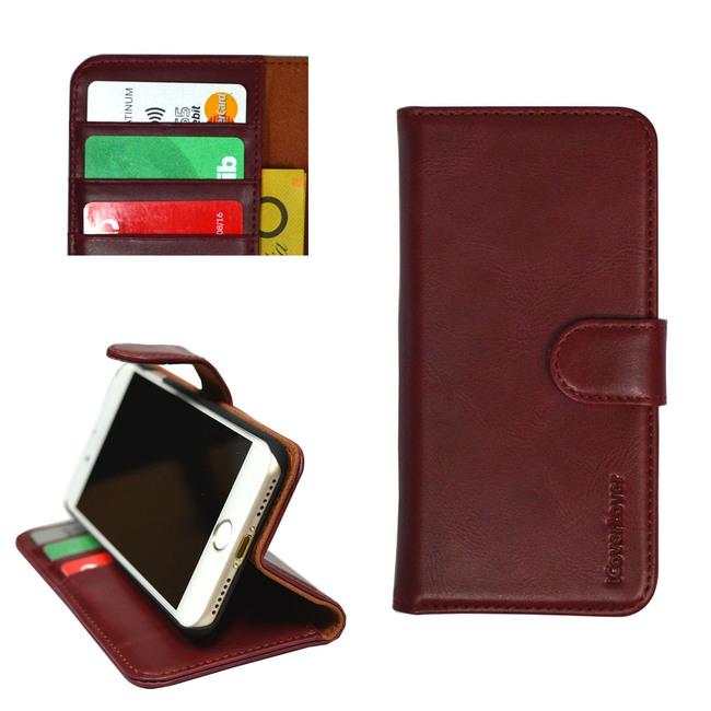 iCoverLover Reddish Brown Real Top-grain Cow Leather Wallet iPhone 7 Case
