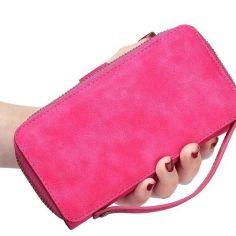 Magenta Genuine Leather Zipper Wallet Detachable Samsung S8 PLUS Case 4