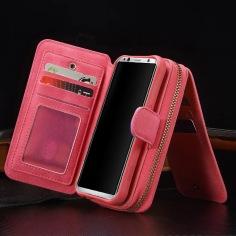 Magenta Genuine Leather Zipper Wallet Detachable Samsung S8 PLUS Case