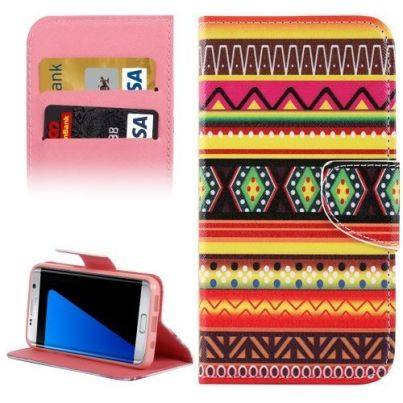 National Embroider Leather Wallet Samsung Galaxy S7 EDGE Case 3